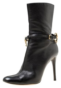 Gucci Leather Chain Ankle Black Boots