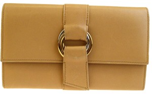 Cartier Authentic Must De Cartier Trinity Trifold Wallet Purse Leather Beige
