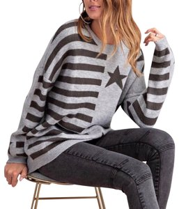 Easel Stars Cardigan Striped Sweater