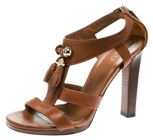 Gucci Leather Open Toe Pebbled Brown Sandals