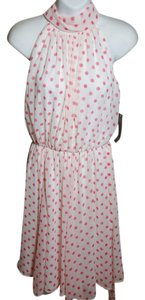 Eva Mendes New York & Company short dress White & Pink Polka Dots Above Knee Polyester Trendy on Tradesy