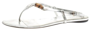 Gucci Leather Mettalic Bamboo Silver Flats