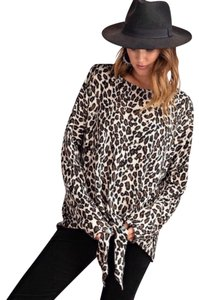 Easel Animal Print Leopard Longsleeve Top Brown
