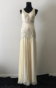 Sue Wong Cream 1920s Style Gown W5203 Vintage Wedding Dress Size 2 (XS)