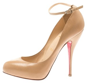 Christian Louboutin Patent Leather Leather Ankle Beige Pumps