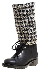 Chanel Leather Lace Chain Detail Black Boots