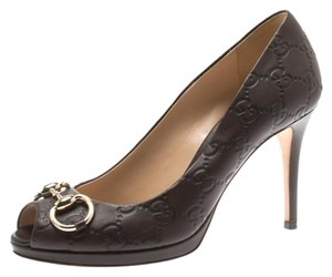 Gucci Leather Peep Toe Brown Pumps