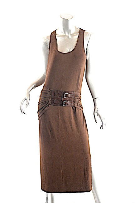 Item - Brown Jersey Nutmeg Rayon Blend Tank with Hip Belt Mid-length Casual Maxi Dress Size 12 (L)