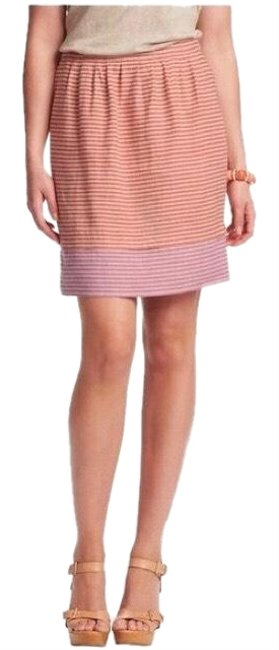 Item - Orange Pink Striped Tiered Linen with Pockets Skirt Size 0 (XS, 25)