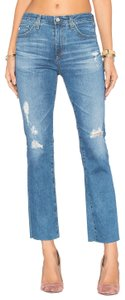 AG Adriano Goldschmied Boyfriend Distressed Flare Released Hem Raw Hem Capri/Cropped Denim-Distressed