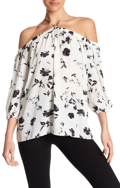 Item - Black and White Off The Shoulder Sheer Chiffon Blouse Size 8 (M)