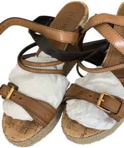 Burberry Saddle Brown Leather Sandals