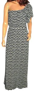 Blue/Brown Maxi Dress by Willow & Clay One Shoulder Maxi