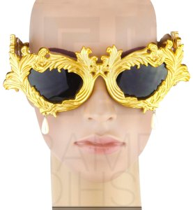 Linda Farrow Jeremy Scott Flourish Baroque Pearl Drop Gold Oversized Sunglasses