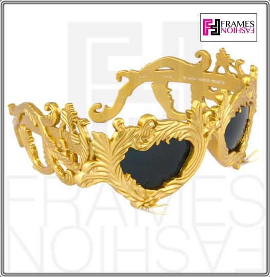 Linda Farrow Jeremy Scott Flourish Baroque Pearl Drop Gold Oversized Sunglasses Image 1