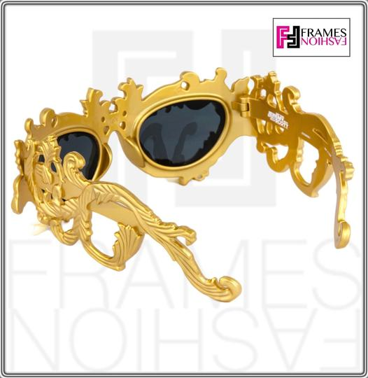 Linda Farrow Jeremy Scott Flourish Baroque Pearl Drop Gold Oversized Sunglasses Image 2