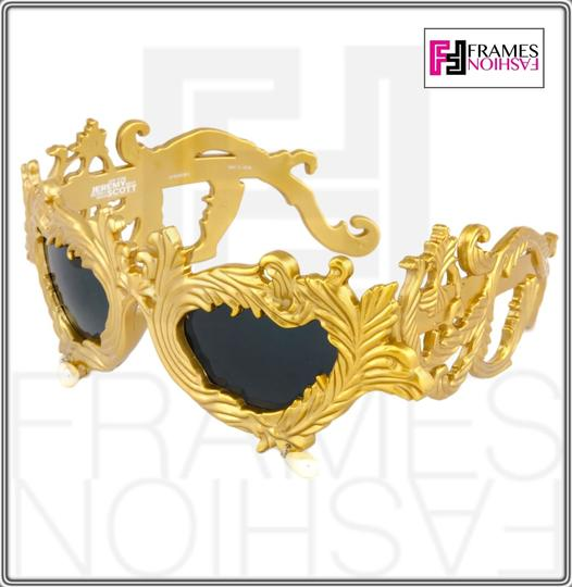 Linda Farrow Jeremy Scott Flourish Baroque Pearl Drop Gold Oversized Sunglasses Image 3