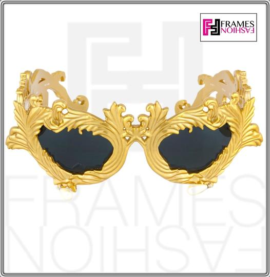 Linda Farrow Jeremy Scott Flourish Baroque Pearl Drop Gold Oversized Sunglasses Image 5