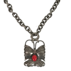 Gucci NEW GUCCI 441238 Sterling Silver Red Coral Butterfly Necklace