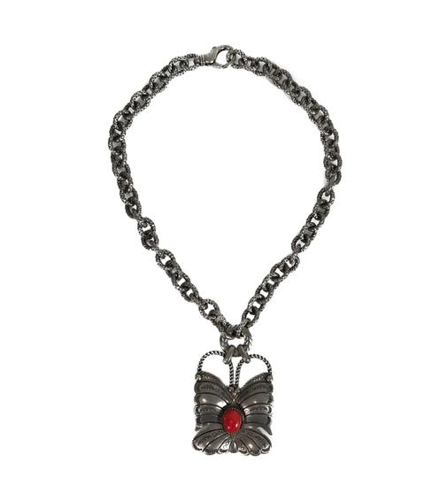 Gucci NEW GUCCI 441238 Sterling Silver Red Coral Butterfly Necklace Image 1
