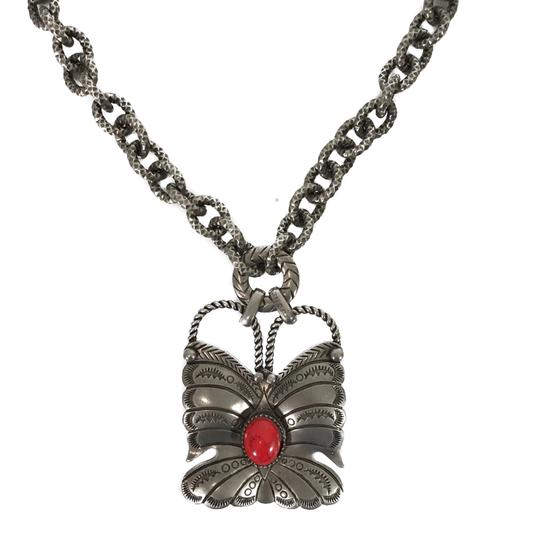 Gucci NEW GUCCI 441238 Sterling Silver Red Coral Butterfly Necklace Image 11