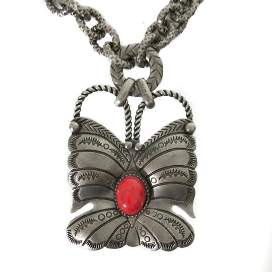 Gucci NEW GUCCI 441238 Sterling Silver Red Coral Butterfly Necklace Image 3