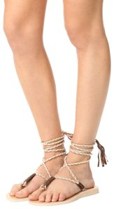Cocobelle Leather Ankle Strap Tassel White Tan Beige Sandals