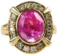 Bullion & Diamond Co. Antique Victorian Pink Tourmaline Diamond Halo Ring in 14k Yellow Gold Image 0