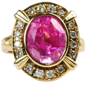 Bullion & Diamond Co. Antique Victorian Pink Tourmaline Diamond Halo Ring in 14k Yellow Gold