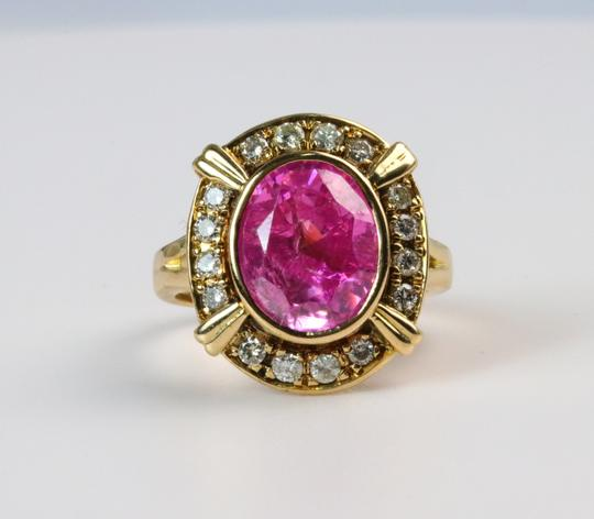 Bullion & Diamond Co. Antique Victorian Pink Tourmaline Diamond Halo Ring in 14k Yellow Gold Image 1