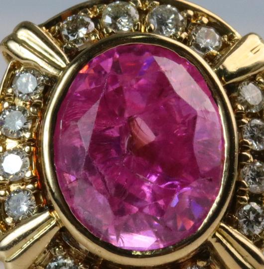 Bullion & Diamond Co. Antique Victorian Pink Tourmaline Diamond Halo Ring in 14k Yellow Gold Image 2