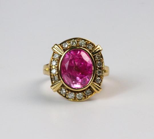 Bullion & Diamond Co. Antique Victorian Pink Tourmaline Diamond Halo Ring in 14k Yellow Gold Image 5