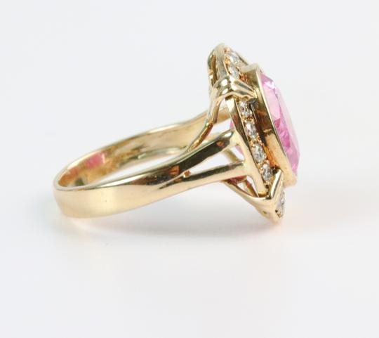 Bullion & Diamond Co. Antique Victorian Pink Tourmaline Diamond Halo Ring in 14k Yellow Gold Image 7