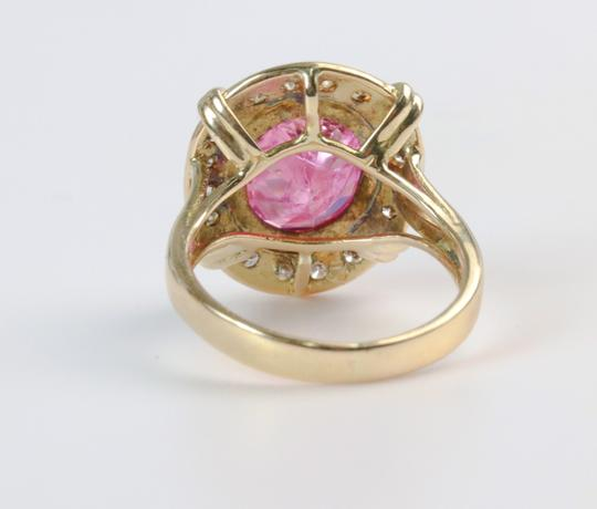 Bullion & Diamond Co. Antique Victorian Pink Tourmaline Diamond Halo Ring in 14k Yellow Gold Image 8