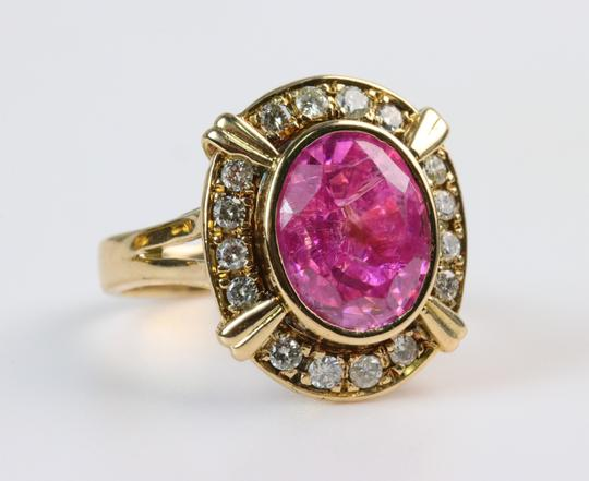Bullion & Diamond Co. Antique Victorian Pink Tourmaline Diamond Halo Ring in 14k Yellow Gold Image 9