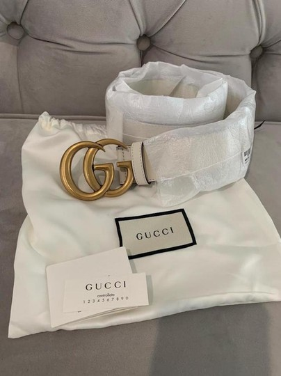 Gucci NEW GUCCI 75 cm GG WHITE IVORY GOLD LEATHER LOGO BELT NEW Image 7