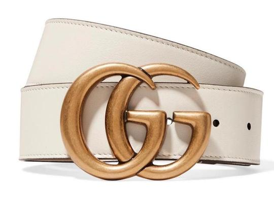 Gucci NEW GUCCI 75 cm GG WHITE IVORY GOLD LEATHER LOGO BELT NEW Image 9