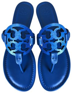 Tory Burch Miller Logo Tropical Blue Sandals