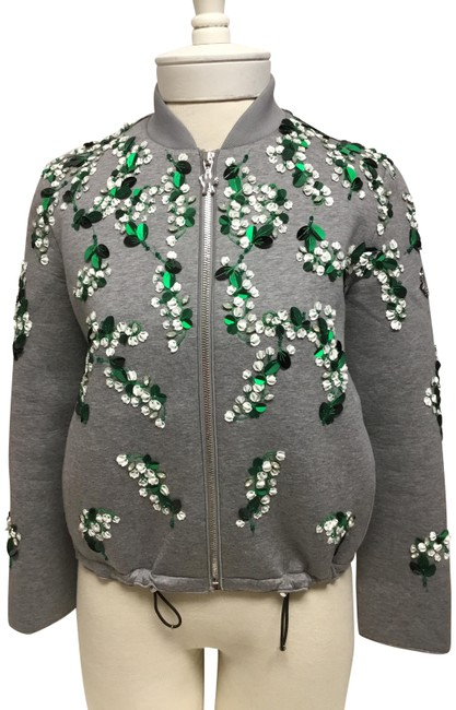 Preload https://img-static.tradesy.com/item/26020982/moncler-grey-runway-with-green-and-white-embroidery-jacket-size-2-xs-0-2-650-650.jpg