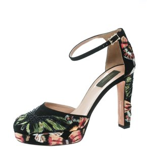 Valentino Embroidered Suede Ankle Black Pumps