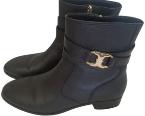 Tory Burch Leather Gemini Black Boots