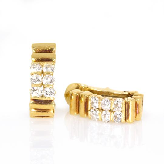 Van Cleef Van Cleef & Arpels 18K Yellow Gold Vintage Diamond Hoop Earrings Image 2