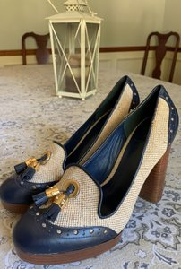 Tory Burch Navy and cream/beige with gold tassels Platforms