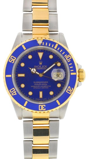 Rolex Rolex Two Tone Submariner 16613 Blue Dial Yellow Gold Watch Image 0