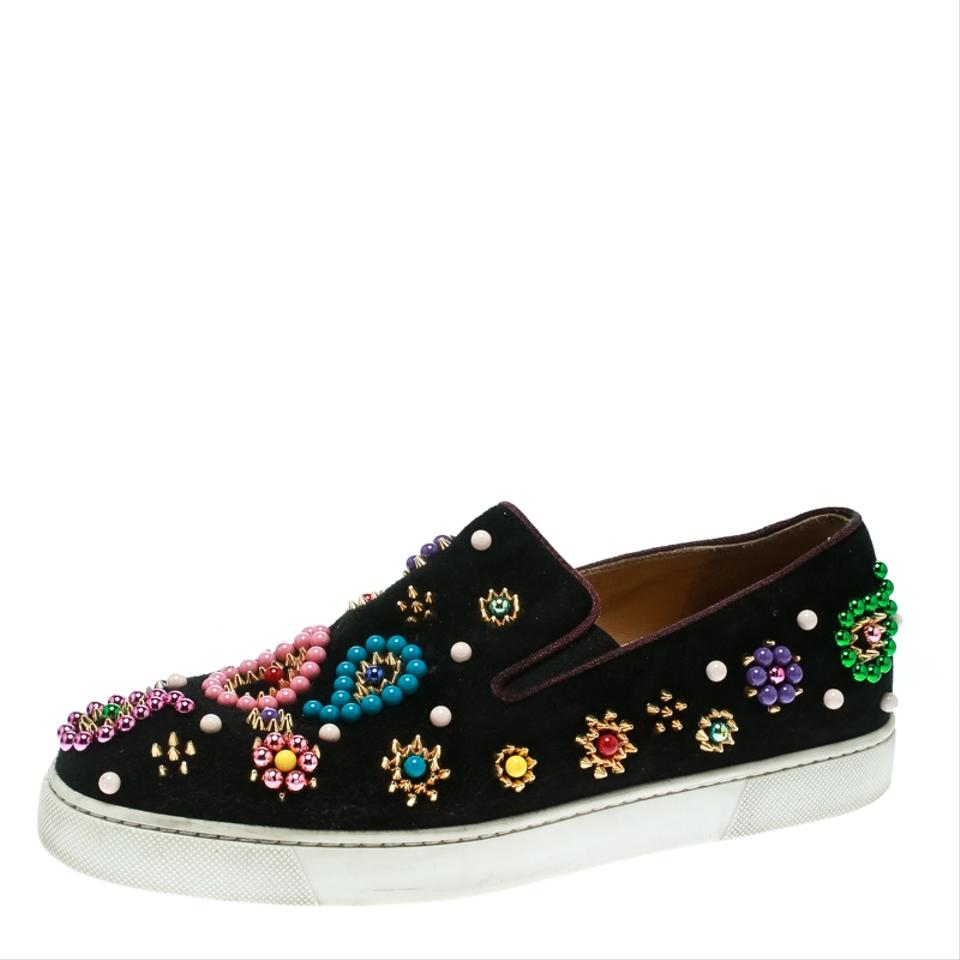 reputable site 94225 1cb7d Christian Louboutin Black Candy Embellished Suede Boat Skate Slip Sneakers  Size EU 39 (Approx. US 9) Regular (M, B) 55% off retail