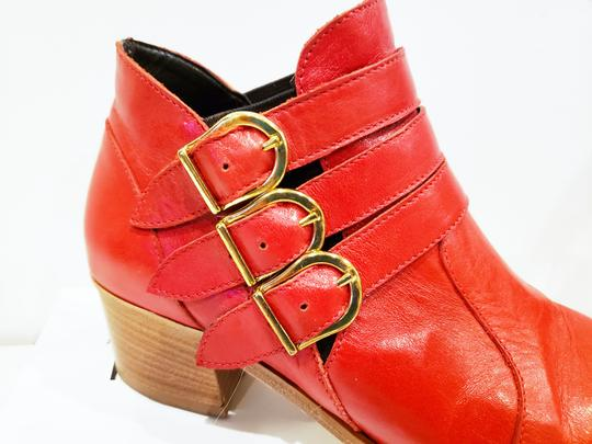 Modern Vice Buckle Pointy Toe Leather Chloe Red Boots Image 1