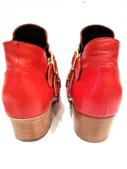 Modern Vice Buckle Pointy Toe Leather Chloe Red Boots Image 2