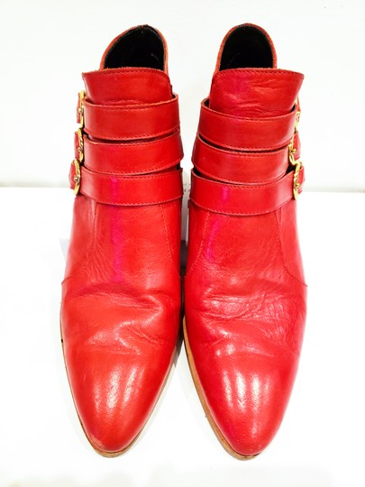 Modern Vice Buckle Pointy Toe Leather Chloe Red Boots Image 4