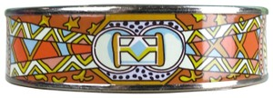 Hermès Hermes Orange Multi-Color Printed Enamel Palladium Cuff Bracelet