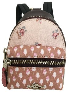 Coach COACH Key Chain Floral Mini Backpack Key Fob Ring Charm Light Pink